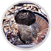 Ruffed Grouse Round Beach Towel