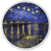 Starry Night Over The Rhone Round Beach Towel