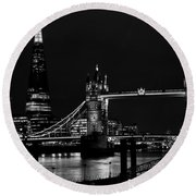 The Shard And Tower Bridge Round Beach Towel
