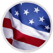 American Flag 50 Round Beach Towel