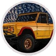69 Ford Bronco 4x4 Restoration Round Beach Towel