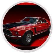 69 Mustang Mach 1 Round Beach Towel