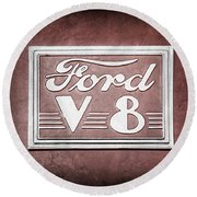 1940 Ford Deluxe Coupe Emblem Round Beach Towel