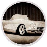 Round Beach Towel featuring the photograph 1960 Chevrolet Corvette by Jill Reger