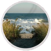 Round Beach Towel featuring the photograph End Of The Day by Christiane Hellner-OBrien