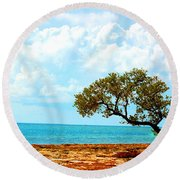 7 Mile Bridge Tree Round Beach Towel by John McGraw