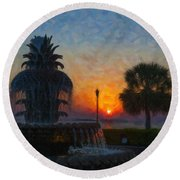 Pineapple Fountain At Dawn Round Beach Towel