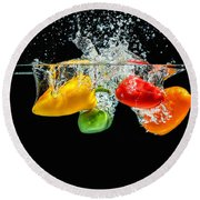 Splashing Paprika Round Beach Towel