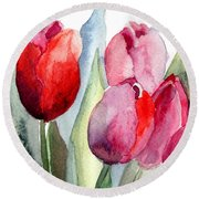 Tulips Flowers Round Beach Towel