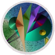 Abstract Bird Of Paradise Round Beach Towel