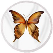 7 Yellow Gorgon Butterfly Round Beach Towel by Amy Kirkpatrick