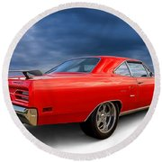 '70 Roadrunner Round Beach Towel by Douglas Pittman