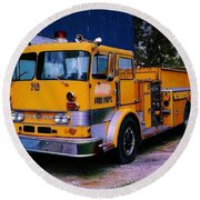 Round Beach Towel featuring the photograph 710 ....... Fire Dept. by Daniel Thompson