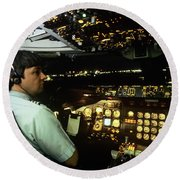 747 Commercial Airplane Crew Captain Round Beach Towel