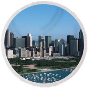 Aerial View Of Buildings In A City Round Beach Towel by Panoramic Images