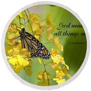 Butterfly Scripture Round Beach Towel
