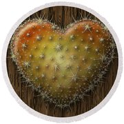 Cactus Heart Round Beach Towel