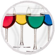 Colorful Drinks Round Beach Towel