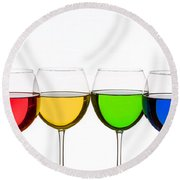 Colorful Wine Glasses Round Beach Towel