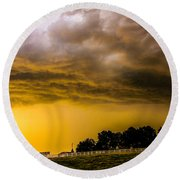 Late Afternoon Nebraska Thunderstorms Round Beach Towel