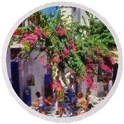 Mykonos Town Round Beach Towel