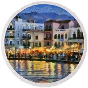 Painting Of The Old Port Of Chania Round Beach Towel