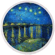 Round Beach Towel featuring the painting Starry Night Over The Rhone by Vincent van Gogh