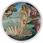 The Birth Of Venus Round Beach Towel