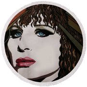 80's Barbra Round Beach Towel