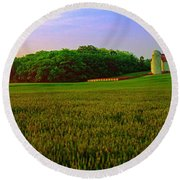 Conley Rd Spring Pasture Oaks And Barn  Round Beach Towel