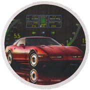 84 Corvette Round Beach Towel