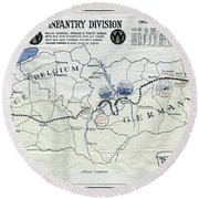 89th Infantry Division World War I I Map Round Beach Towel