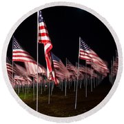 Round Beach Towel featuring the digital art 9-11 Flags by Gandz Photography