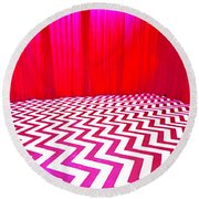 Black Lodge Round Beach Towel