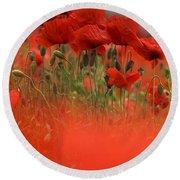 Red Poppy Flowers Round Beach Towel