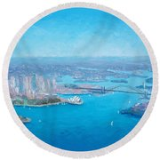 Sydney Harbour And The Opera House Aerial View  Round Beach Towel