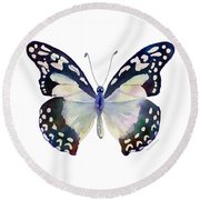 90 Angola White Lady Butterfly Round Beach Towel