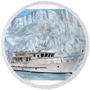 65 Foot World Cruising Yacht Round Beach Towel by Jack Pumphrey