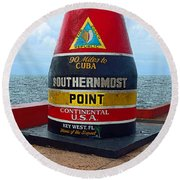 Southernmost Point Key West - 90 Miles To Cuba Round Beach Towel