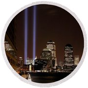 Round Beach Towel featuring the photograph 911 Anniversary by Gary Slawsky