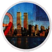 911 Never Forget Round Beach Towel