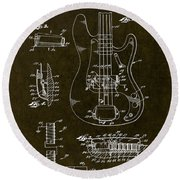 1961 Fender Bass Pickup Patent Art Round Beach Towel