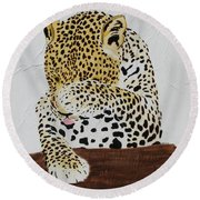 Round Beach Towel featuring the painting 97.. 95..99....100  Ready Or Not by Stephanie Grant
