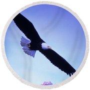 A Bald Eagle Flies Over Alaskas Chilkat Round Beach Towel