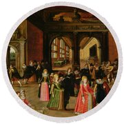 A Ball During The Reign Of Henri Iv Oil On Panel Round Beach Towel