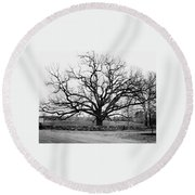 A Bare Oak Tree Round Beach Towel
