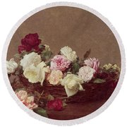 A Basket Of Roses Round Beach Towel