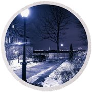 A Battery Park Winter Round Beach Towel