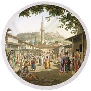 A Bazaar In Athens, Plate 1 From Part 1 Round Beach Towel
