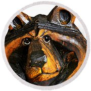 A Bear Expression Round Beach Towel